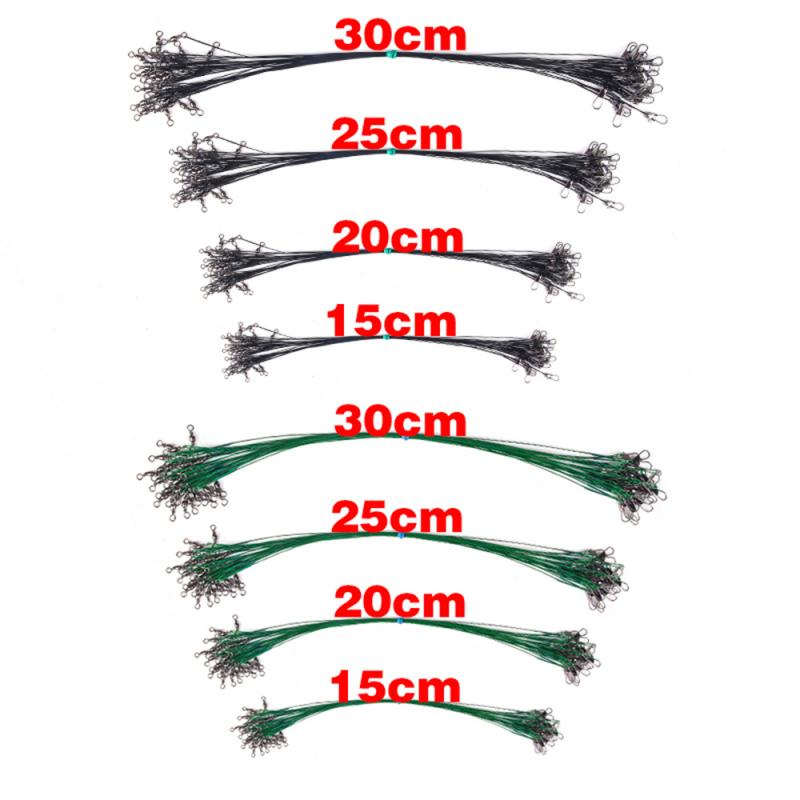 Leader Fishing-Accessories Front-Wire Swivel Steel with Leash 15/20/25/30cm 3PC Anti-Bite title=