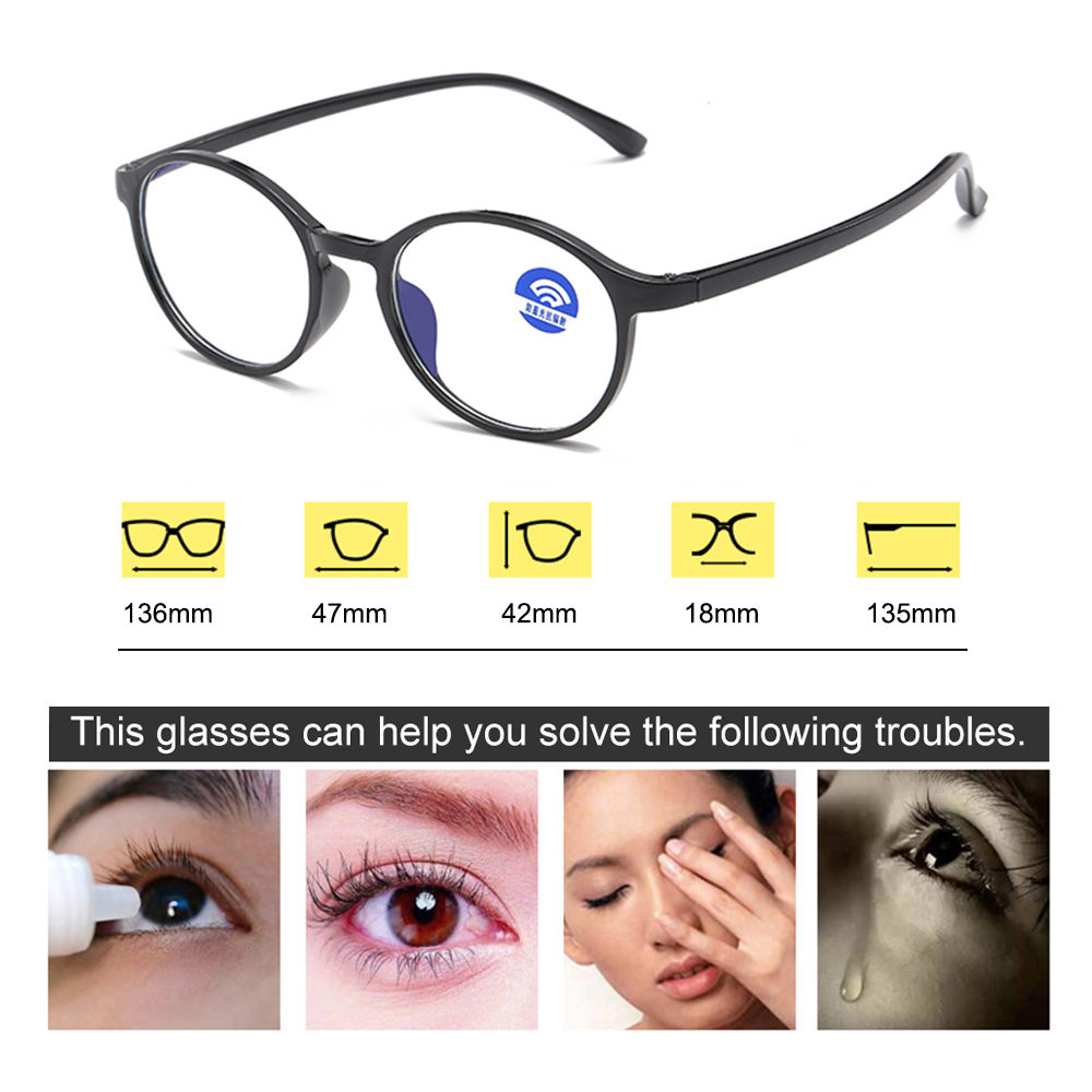 Fashion Unisex Portable Optical Glasses Ultra Light Resin Blue Light Blocking Glasses Flexible Vision Care Round Computer Glass