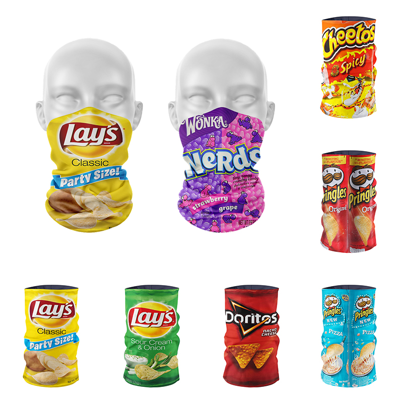 New 3D Printed Potato Chips Men's Scarf Funny Colorful Summer Ring Scarf For Women Sports Magic Seamless Tube Kerchief Bandana