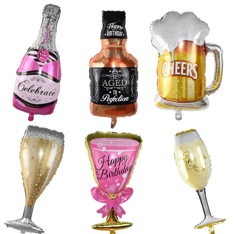 1pcs Party Foil Balloons Wedding Anniversary Champagne Bottle/Beer Cup/Trophy/Cake Ballons Birthday Party DIY Decorations