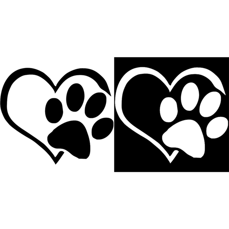 Dog Cat Paw Print Car Sticker Lovely Heart Shaped for Camper Van Motorcycles Waterproof Vinyl Decal for Car Styling