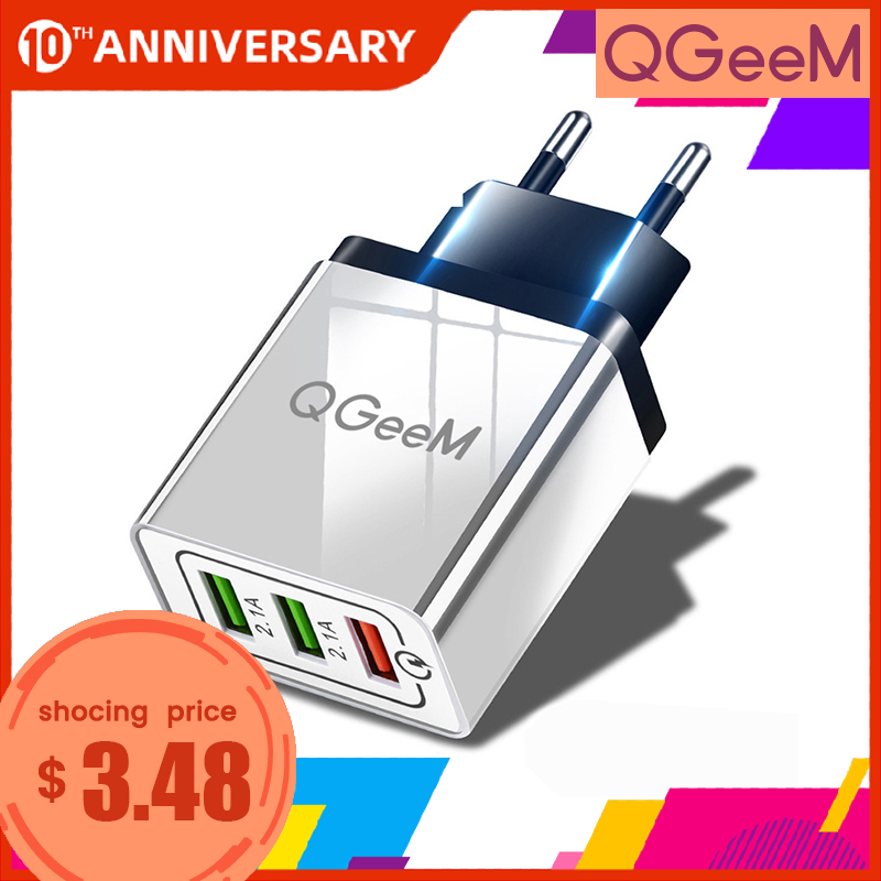 QGEEM 3 USB Charger Quick Charge 3.0 Fast USB Wall Charger Portable Mobile Charger QC 3.0 Adapter for Xiaomi iPhone X EU US Plug title=