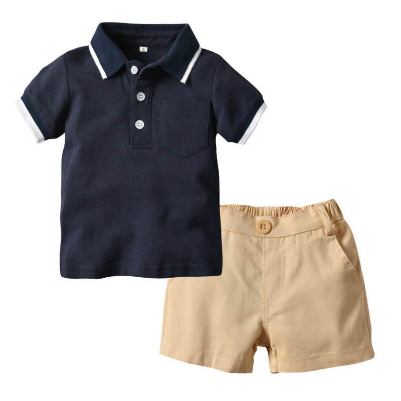 Boy/'s Polo Shirt And Five -point Trousers Summer Children/'s Outdoor Two-piece Suit Girls/' Cotton T-shirt And Short