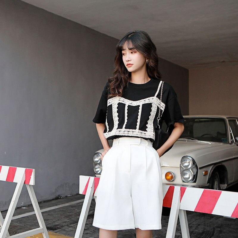 H06f3ff78d5d84291aa3c68bb985854193 - Summer Korean High Waist Loose White Shorts