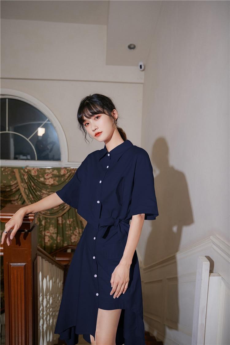 H06f6f67cd48e40b0a19d7ba850641b92a - Summer Korean Turn-Down Collar Short Sleeves Buttons Lace-Up Asymmetrical Long Shirt Dress