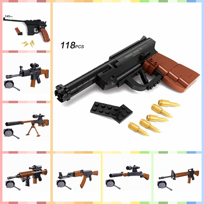 Legoing Weapon Set Guns Saucepan Model Toys For Children Military piece Arms WW2 Sharpshooter Legoings Army Soliders kits Bricks