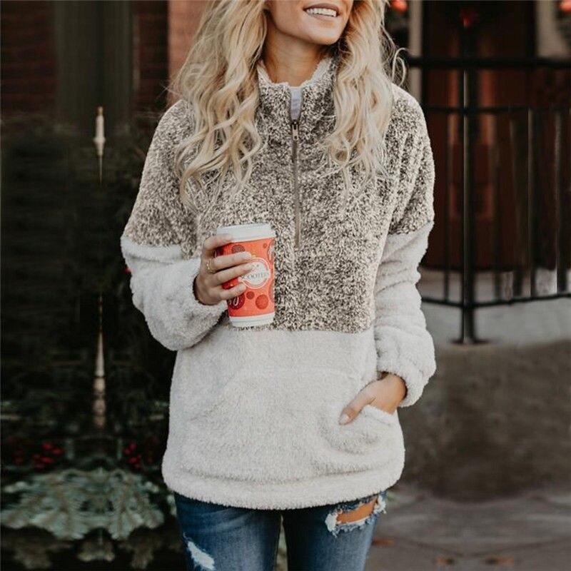 Sebaby Womens Fleece Warm Plush Pullover Front Zipper Stand Collar Sweatshirt