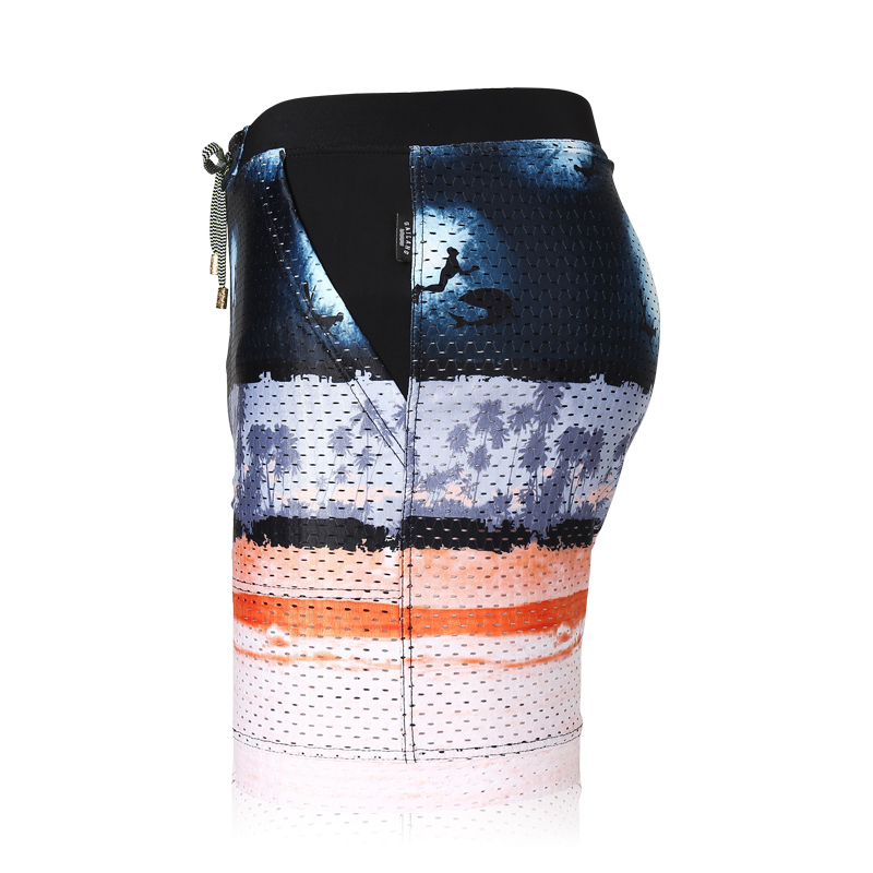Summer Men Bathing suit swimsuit wear pool shorts briefs low waist Seabed boxers low waist printed bikini swimwear mesh