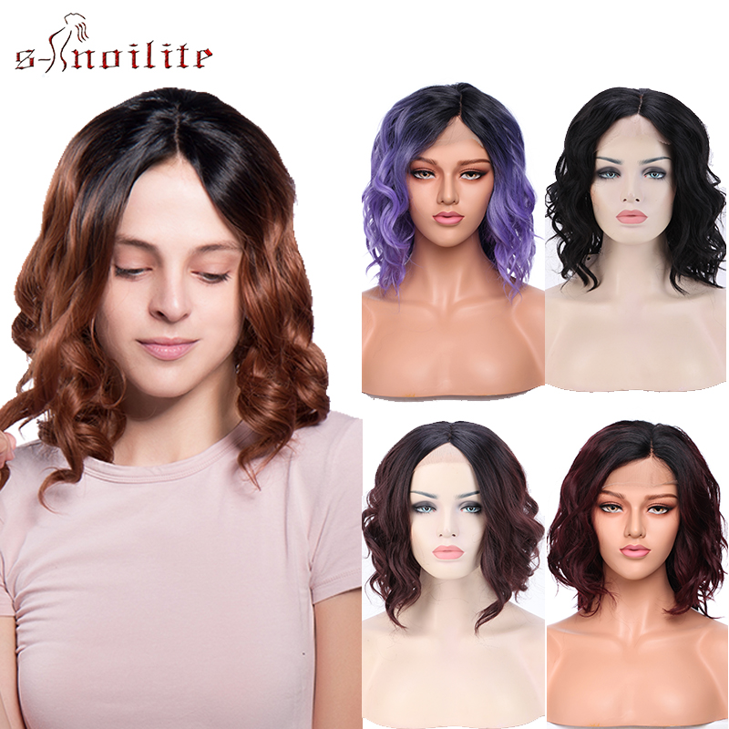 S-noilite Synthetic Wigs Lace Front Wigs Ombre Purple Brown Red Wigs Short Wavy Lace Wigs Heat Resistant Wig For Women Fake Hair