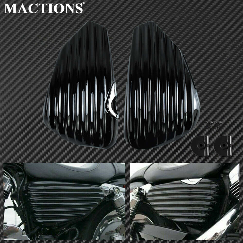 Motorcycle Gas Tank Battery Cover Fairing Stripe Guard Left Right Side Black ABS Plastic For Harley Sportster 883 1200 XL 14-20