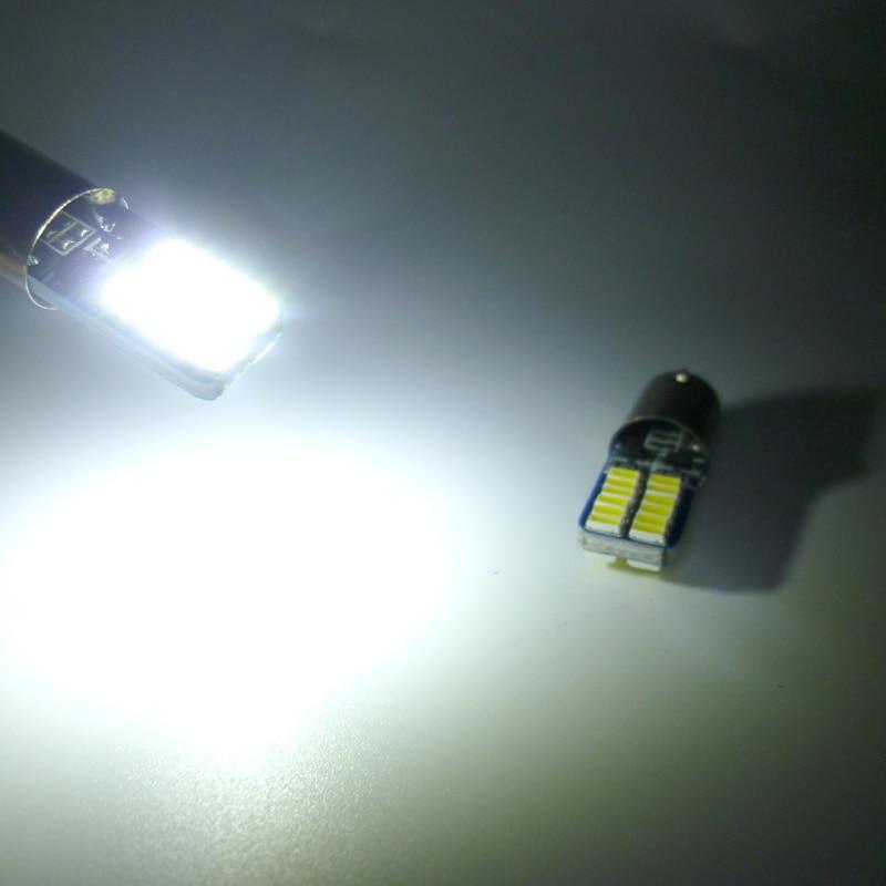 12V BA9S T11 T4W 3014 LED 24-SMD Car Side Light Bulb Interior Lamp White 2pcs