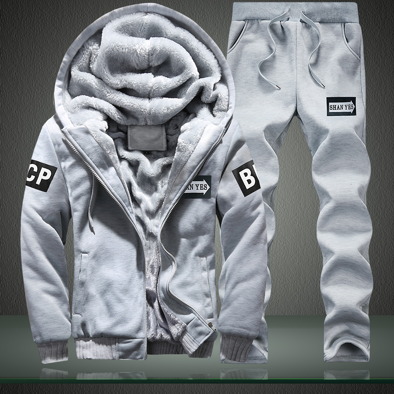 Winter Men Fleece Sweat Suits men's warm jacket+pants Sportwear Suit Male Sport Tracksuit Set Casual Hoodie Thick  jogger sets