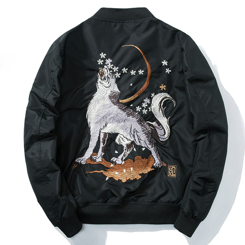 Bomber Jacket Embroidery Mens Wolf Air Force Pilot Jacket Male Spring Autumn Baseball Jacket Motorcycle Coat Hip Hop Streetwear