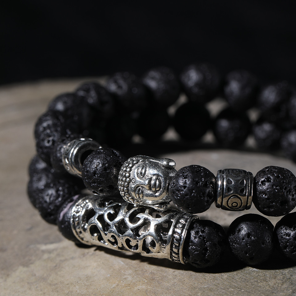 12 Style Black Lava Stone Prayer Beads Buddha Men Bead Bracelet Tiger Stones Beaded Bracelets for Women and Mens Male 2pcsSet  (39)