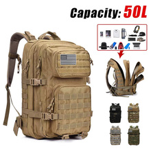 50L Large Capacity Military Tactical Backpack Oxford Waterproof Hunting Climbing Hiking Bags Molle Camping Trekking Rucksack