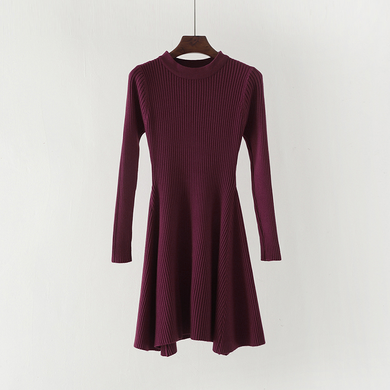Women Long Sleeve Sweater Dress Women's Irregular Hem Casual Autumn Winter Dress Women O-neck A Line Short Mini Knitted Dresses 12