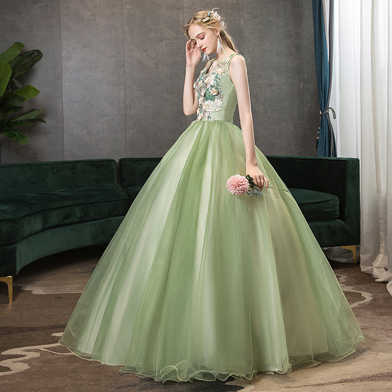 Quinceanera Dress New Sleeveless V-neck Party Prom Ball Gown Luxury Solo Tank Gown Elegant Floral Print Host Quinceanera Dresses