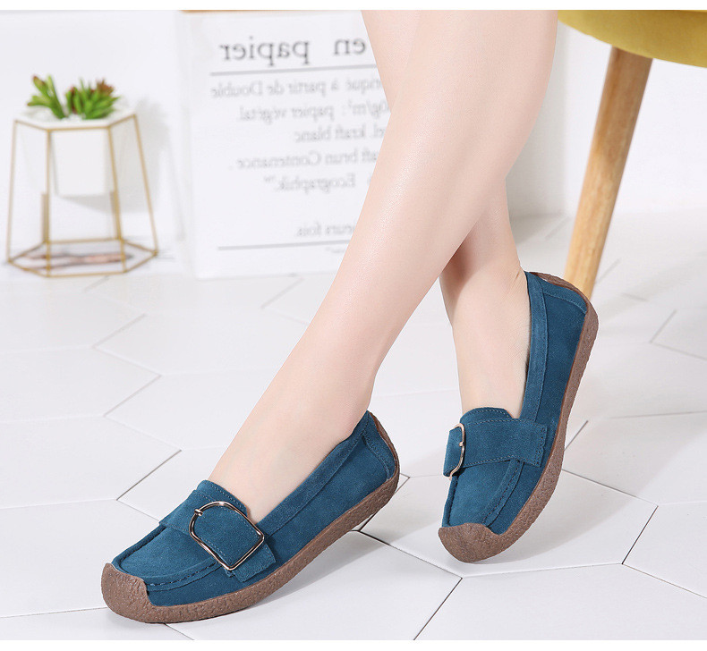 HX 7038-Spring Autumn Cow Suede Leather Women Flats-10
