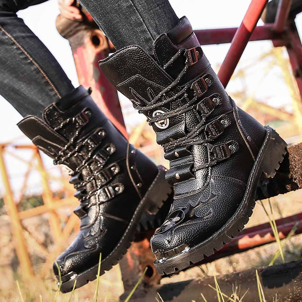 Retro High Top Mens boy Punk Goth Mid Calf Boots Riding Lace Up Shoes Fashion