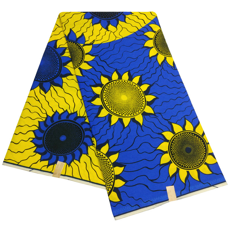 2019 New African Fabric Sunflower Print 6yards\lot African Wax Print Fabric title=