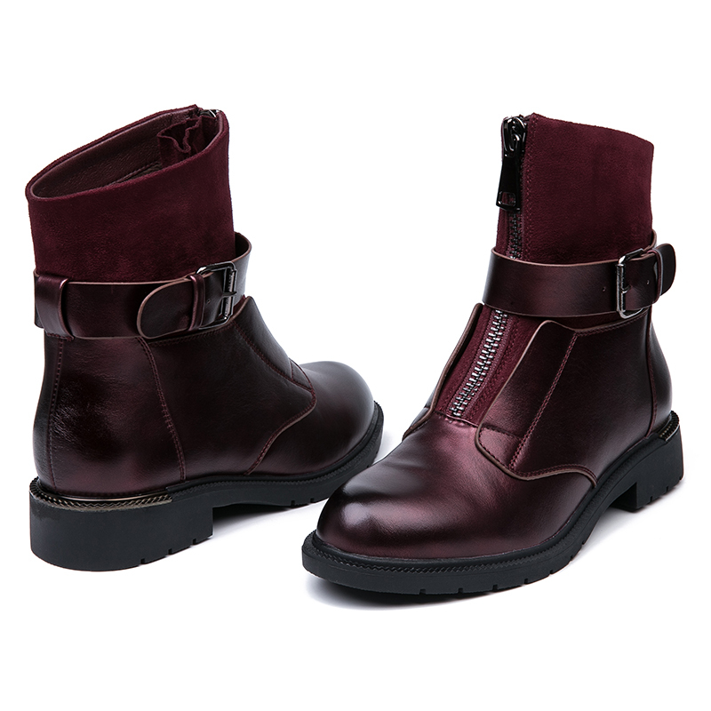 IMG_5710AIMEIGAO New Zipper Ankle Boots Women Soft PU Leather Boots Low Heel Short Plush Boots Front Zip Autumn Black Red Women Shoes