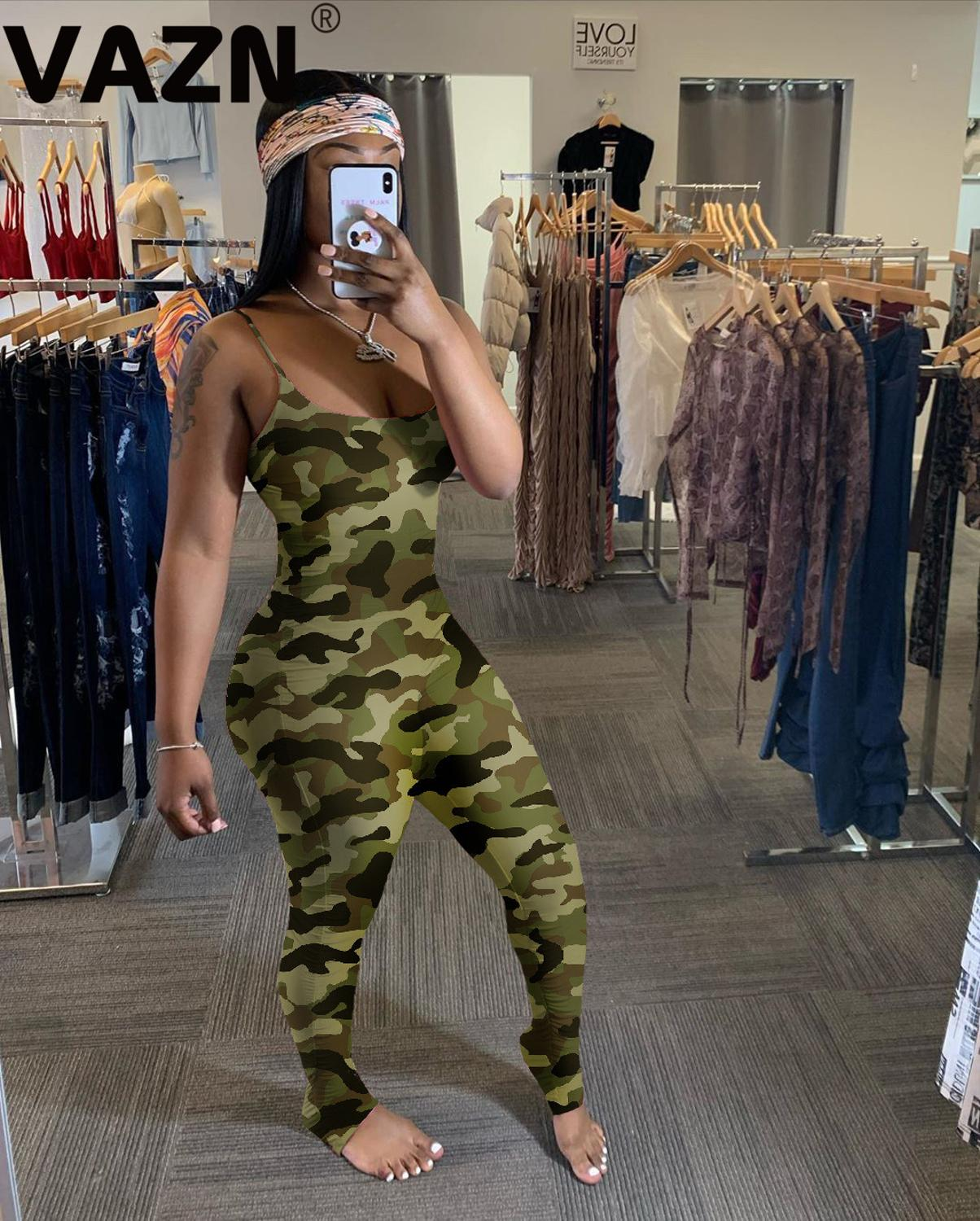 VAZN New product 2020 summer sexy lady 6 colors long jumpsuit spaghetti strap long colorful rompers skinny camouflage jumpsuits