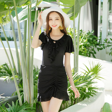 Black plus fat 90 skirt one piece flat angle swimsuit women's wrinkle sexy belly covering ins Korean hot spring suit swimwear