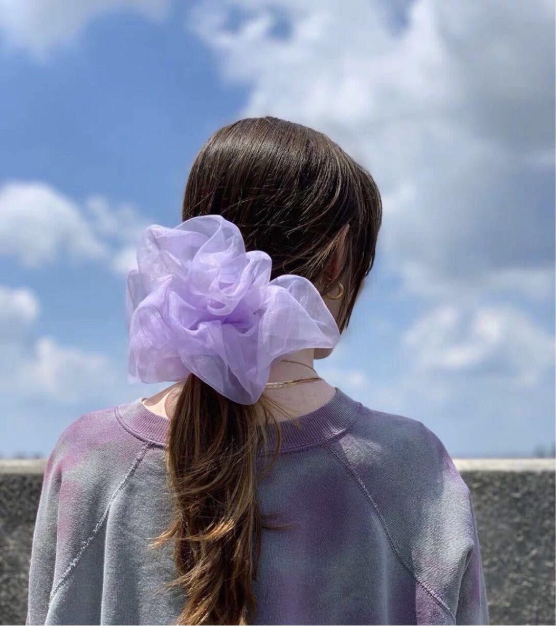Cloud giant scrunchie intestine circle mesh scrunchies hairband girl H5W7