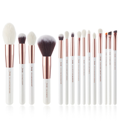 Набор кистей для макияжа Jessup Pearl White/Rose Gold, Профессиональные кисти для макияжа, набор инструментов для основы, пудра из натурального синтетич...
