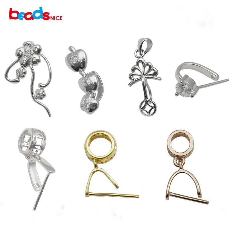 925 STERLING SILVER PENDANT PINCH BAILS Fit Crystal NECKLACE Many Sizes