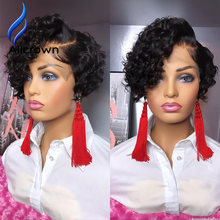 Alicrown Short Curly Pixie Cut Wig For Women 180% Density Brazilian Lace Front Human Hair Wigs Non-Remy Middle Ration(Китай)