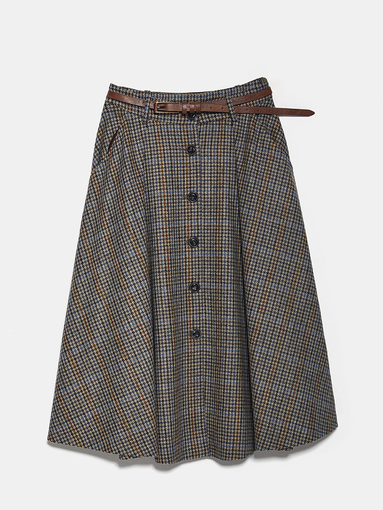 Winter Woolen Skirts Women High Waist Female Belted Saia Vintage Plaid Midi Jupe Long Office Skirt Button Moda Mujer Elegant