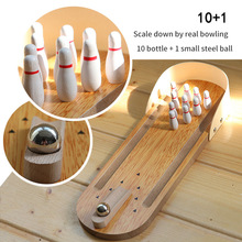 Toy Board-Game Desktop Portable Bowling-Accessories Grounder Wooden Adult Children Mini