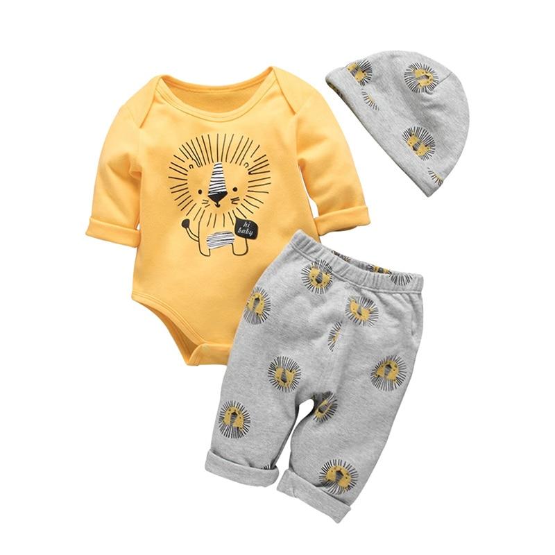 PatPat 2020 Bebe осень и зима, хлопок, Лев, комплект повседневной одежды из 3 предметов, ребенок, мальчик, малыш, милый, боди, брюки, шляпа, костюм, детская одежда