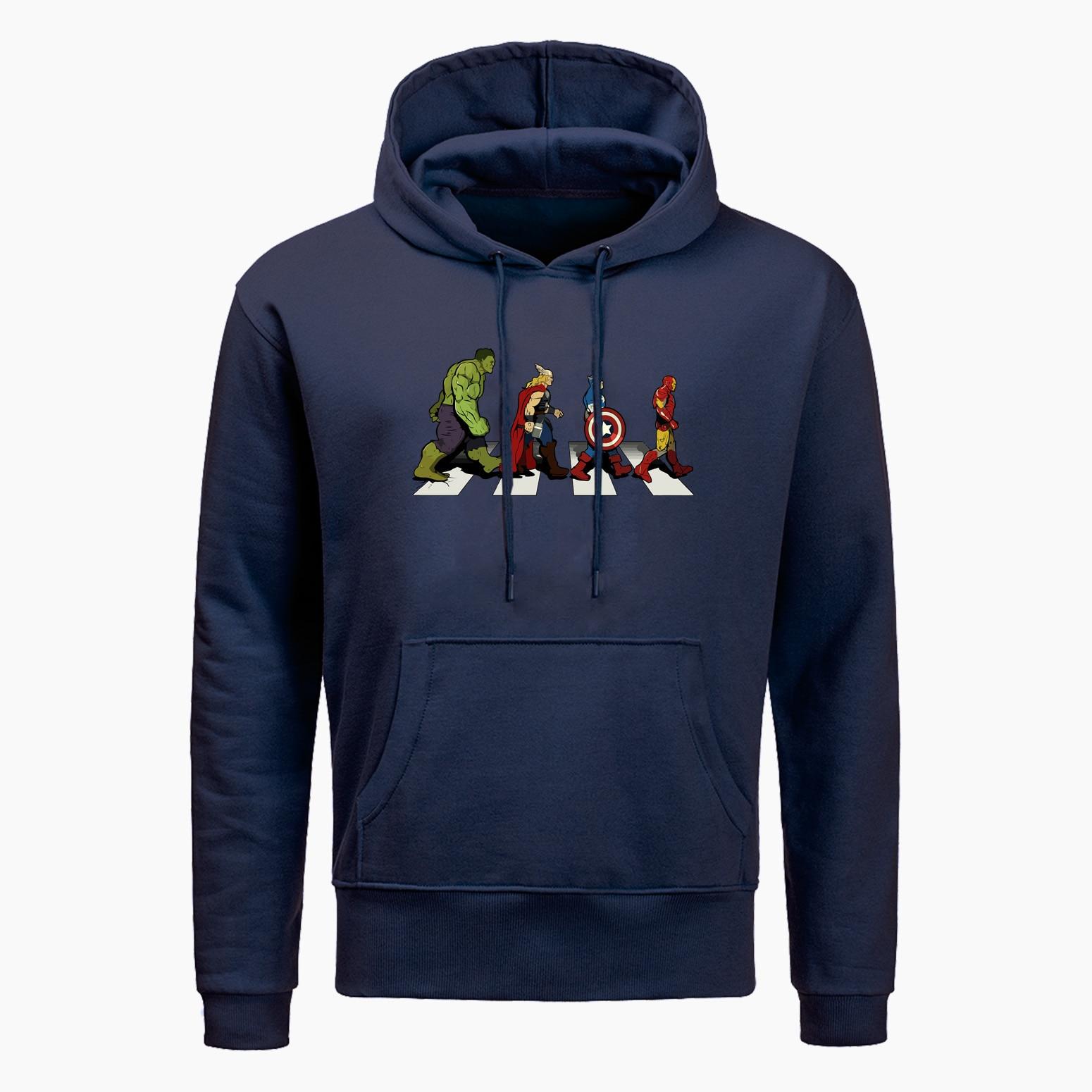 Marvel Hoodie Men The Avenger Road Hoodies Men Superhero Hoodie 2019 Autumn Winter Casual Men Harajuku Streetwear Sweatshirt