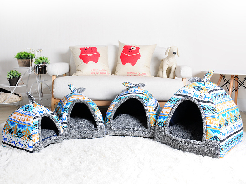 Furniture - Cat House Foldable Lovely Printing Warm Cozy for Cats Dogs Nest Collapsible Cat Cave Cute Sleeping Mats Winter Pet Products