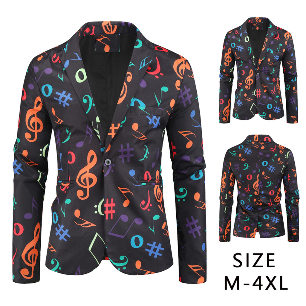 Cardigan Outwear Jacket Trench-Coat Long-Sleeve Printed Party Autumn Banquet -3 Musical-Note title=