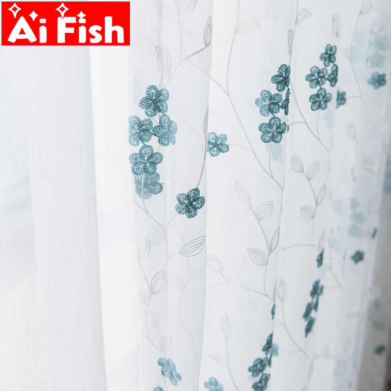 Pastoral Embroidered gauze for living room blue and coffee leaves flowers window treatments tulle for kitchen curtains M148-50