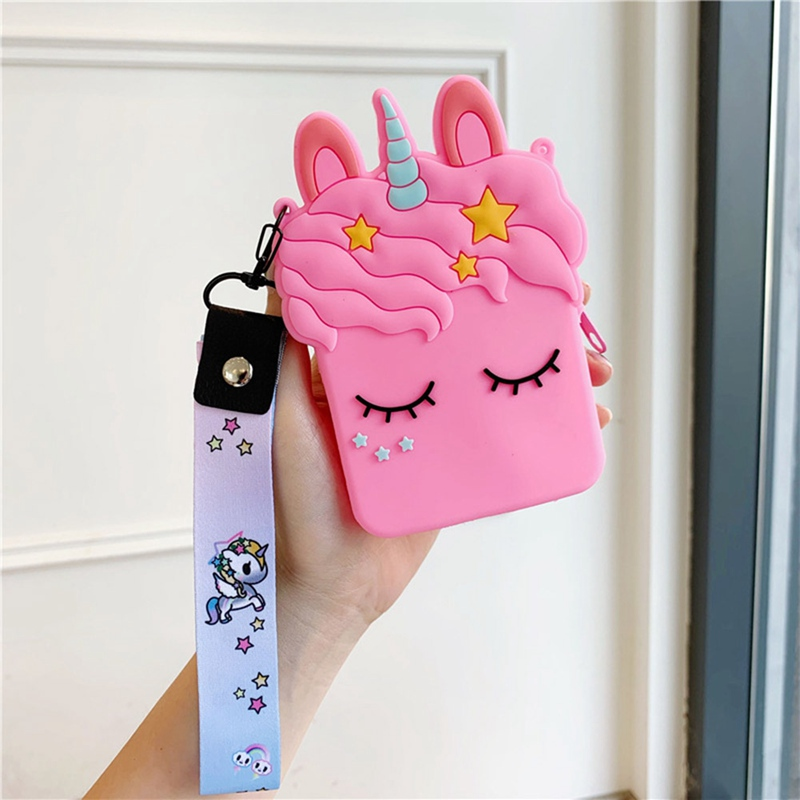 ins Unicorn Phone Bag Women Cute Coin Purses Silicone Girl Lovely Wallets