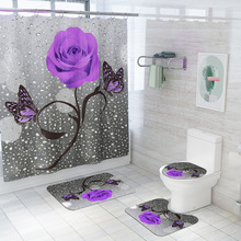 Curtain-Set Bath-Rugs Toilet-Foot-Pad Shower Anti-Skid Floral And with Hooks Carpet