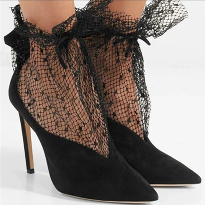 Spring Summer 2020 New Pumps Shoes Woman Sexy Pointed Toe V-Mouth Stilettos Mesh Hollow Skinny Lady Ankle Boot Fairy High Heels (4)