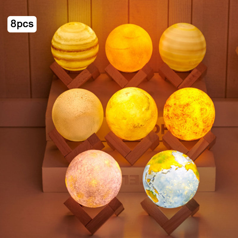 8pcs/set 3D Planets Moon Lamp LED Night Light USB 3 Color Touch Switch Table Lamp Rechargable LED 3D Light for Children Gifts