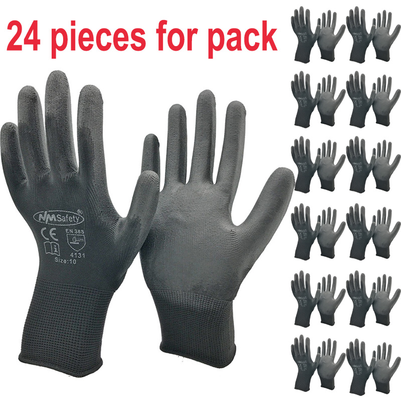 24Pieces/12 Pairs Safety Working Gloves Black Pu Nylon Cotton Glove Industrial Protective Work Gloves NMSafety Brand Supplier