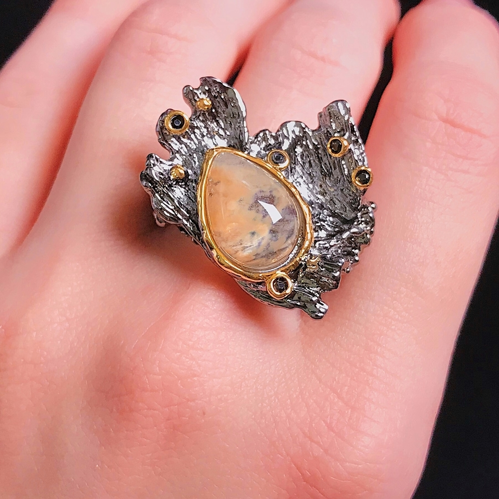 WA11787 DreamCarnival1989 Amazing Women Rings Rough Stone Wedding Engagement Ring Strong Character Water Melon Zircon Gun Color A (5)