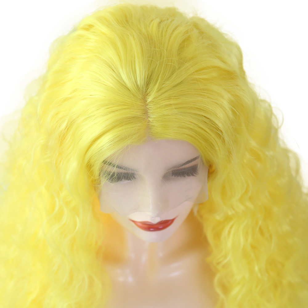 AIMEYA Yellow Curly Wig Free Part Lace Front Wigs for Black/White Women Heat Resistant Fiber Synthetic Wigs Natural Hairline