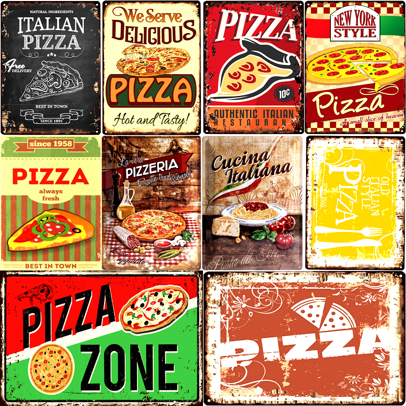 """Tin Sign Food Restaurant Decoration  Pizza Bakers  Metal Plate 8X12/"""""""
