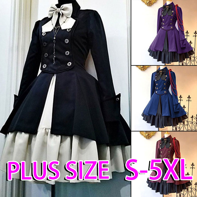 Plus Size Retro Dresses Lolita Costumes Printed High Waist Long Sleeve Lace Victorian Gothic Women medieval Costume