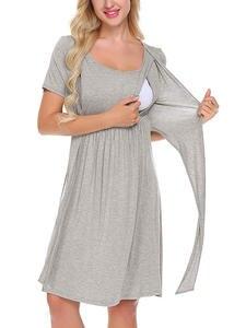 Dress Nightgown Pregnant-Dresses Breastfeeding-Sleepwear Nursing Maternity Women Solid