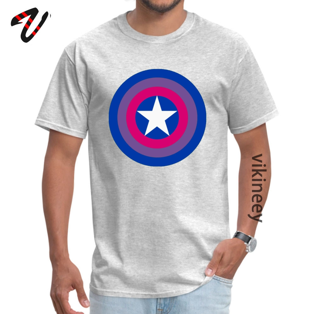 Customized Captain Bisexual Tops Shirts for Men Cheap April FOOL DAY Round Neck Cotton Short Sleeve T Shirt Hip hop Tee Shirt Captain Bisexual 6982 grey