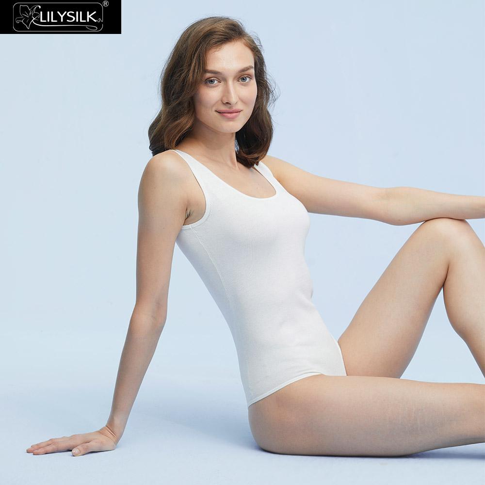 LilySilk Womens Silk Bodysuit Camisole Scoop Neck Slim Fit Soft Button Crotch